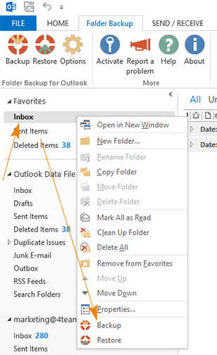 Back up and restore selected Outlook folder.