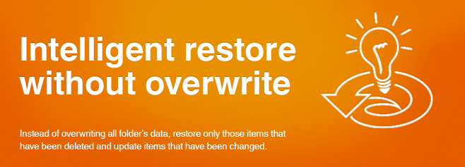 Instead of overwriting all folder's data, restore only those items that have been deleted and update items that have been changed.